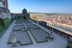 Garden Furstengarten in Marienberg fortress and historic city of Wurzburg Royalty Free Stock Photography