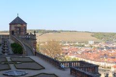 Garden Furstengarten in Marienberg fortress and historic city of Wurzburg Stock Images