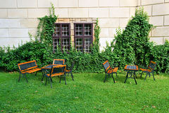 Garden with garden furniture Stock Images