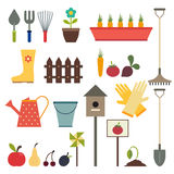 Garden and gardening tools icon set. Isolated on a white backgro Royalty Free Stock Images