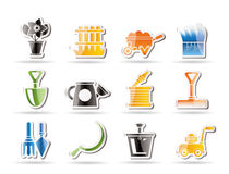 Garden and gardening tools icons Royalty Free Stock Photo