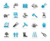 Garden and gardening tools icons royalty free illustration
