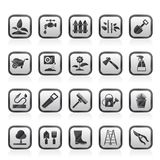 Garden and gardening tools icons Royalty Free Stock Image