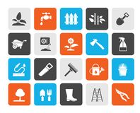 Garden and gardening tools icons. Vector icon set vector illustration