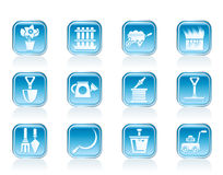 Garden and gardening tools icons Stock Photo