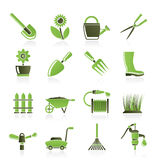 Garden and gardening tools and objects icons Royalty Free Stock Photo