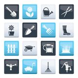 Garden and gardening tools and objects icons over color background stock illustration