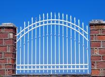 Garden Gate. Greek Garden Gate in blue vivid sky Stock Photo
