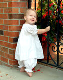 At the Garden Gate. Baby standing beside iron garden gate Stock Photos