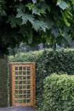 Garden Gate and Hedge Stock Photo