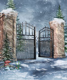 Garden gate in winter Royalty Free Stock Photos