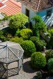 Garden with gazebo. Green garden with a gazebo Stock Photography