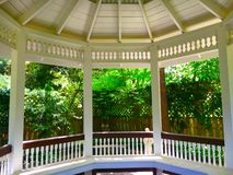 Garden Gazebo. View from inside an ornate garden gazebo Royalty Free Stock Image
