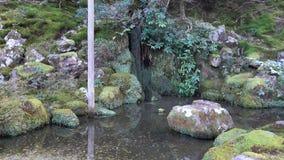 Garden at Ginkaku temple in Kyoto, Japan. The lake with small waterfall at Ginkaku temple in Kyoto, Japan stock footage