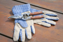 Garden gloves and clippers Royalty Free Stock Photos