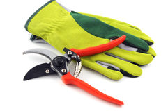 Garden gloves and shear on white isolated background Royalty Free Stock Photo
