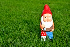 Garden Gnome. Is in green grass stock photography