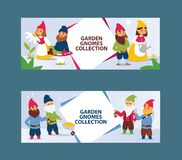 Garden gnome beard dwarf characters cadrs and gardening flayer klitsch family figure background vector illustration. Little funny people toy elf figurines vector illustration