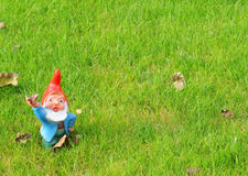 Garden gnome in bright colours waving in the grass Royalty Free Stock Photography