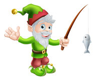 Garden gnome with fishing rod Stock Image