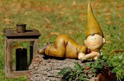 Garden Gnome, Lawn Ornament, Grass, Leaf Stock Photos