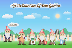 Garden Gnome Service with wood fence and nature background - let us take care of your garden Stock Images