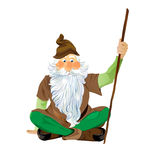 Garden Gnome Sitting Cross Legged.  Vector EPS10. Scalable  art in Adobe EPS10 format Royalty Free Stock Photo