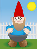 Garden Gnome - Vector. Garden Gnome standing by white fence on sunny day - Vector Royalty Free Stock Photography