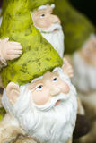 Garden gnomes. Handmade garden gnomes on the display royalty free stock photo
