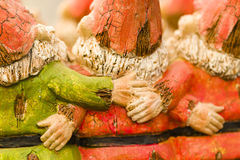 Garden gnomes. Handmade garden gnomes on the display royalty free stock images