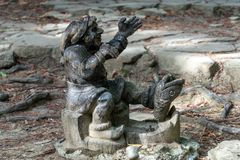 Garden gnomes carved out of wood for garden. Decoration royalty free stock image