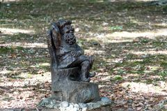 Garden gnomes carved out of wood for garden. Decoration royalty free stock photos
