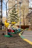 Garden gnomes figures in the courtyard of the kindergarten Stock Image