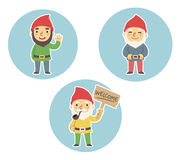 Garden gnomes. Three cartoon garden gnomes. Standing, waving, holding Welcome sign Royalty Free Stock Image