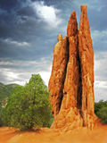Garden of the Gods. A red rock formation stands out against the dark sky of an approaching storm royalty free stock photography