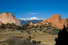 Garden of the Gods. With Pike's Peak in the background Stock Photography