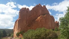 Garden of the Gods. A beautiful summer day outside Colorado Springs, CO at Garden of the Gods.  Towering sandstone natural formations make this a breathtaking Stock Photo