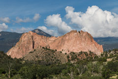 Garden of the Gods - Cathedral Rock. Cathedral Rock is one of the prominent rock formations visible from the Garden of the Gods visitor center.  A storm was Royalty Free Stock Photography