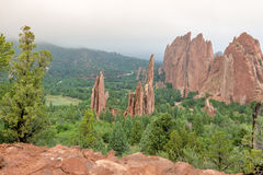 Garden of the Gods Colorado foggy morning Stock Photo