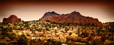 Garden of the Gods, Colorado Springs. Panoramic view of the Garden of the Gods in Manitou Colorado Stock Image