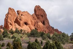 Garden of the gods colorado springs rocky mountains. Garden of the gods in colorado springs - travel vacation in the rocky mountains stock image