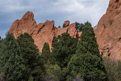 Garden of the gods colorado springs rocky mountains. Garden of the gods in colorado springs - travel vacation in the rocky mountains royalty free stock photography