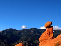 Garden of the Gods Formation. A boulder seemingly balancing on top of a rock formation in the Garden of the Gods Colorado Stock Image