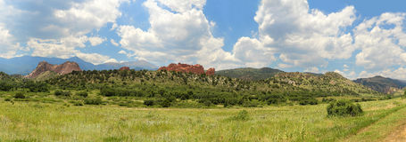 Garden of the Gods in Panoramic View Stock Images