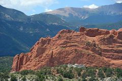 Garen of the Gods Rock Formations. Garden of the Gods park in Colorado Springs with Pikes Peak in background royalty free stock photography
