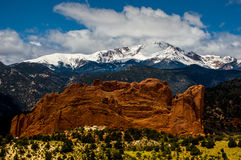 Garden of the Gods and Pikes Peak Royalty Free Stock Image