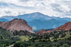 Garden of the Gods. Red rock formations at the Garden of the Gods with Pikes Peak in the background Stock Image