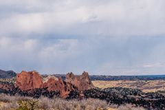 Garden of the gods seen from Colorado Red Rocks Open Space Colorado Springs royalty free stock images