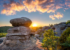 Garden of the Gods, Shawnee National Forest, Illinois. Sunset over rock formations at Shawnee National Forest's Garden of the Gods Stock Photo