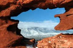 Garden of the gods window rock. Window rock in the garden of the gods Royalty Free Stock Photos